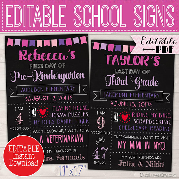 First Day of School Sign Instant Download, Last Day Printable Chalkboard Photo Prop, Editable Stats Poster 1st Reusable PDF Back to End Year