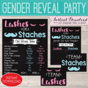 Staches or Lashes Gender Reveal Decorations, Old Wives Tales Sign Printable, Chalkboard Party Decor Ideas, Boy Girl Digital Baby Vote Tally