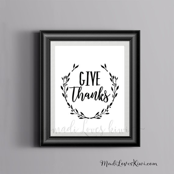 Give Thanks Printable Wall Art, Digital Thanksgiving Print, Fall Decor, Kitchen Sign, Holiday Inspirational Quote Home Chalkboard Thankful