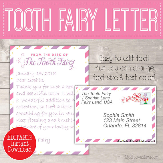 Personalized Girl Tooth Fairy Letter Kit, Printable First Lost Teeth Note Set Envelope Template PDF Gift Cards From Digital Download Pink No