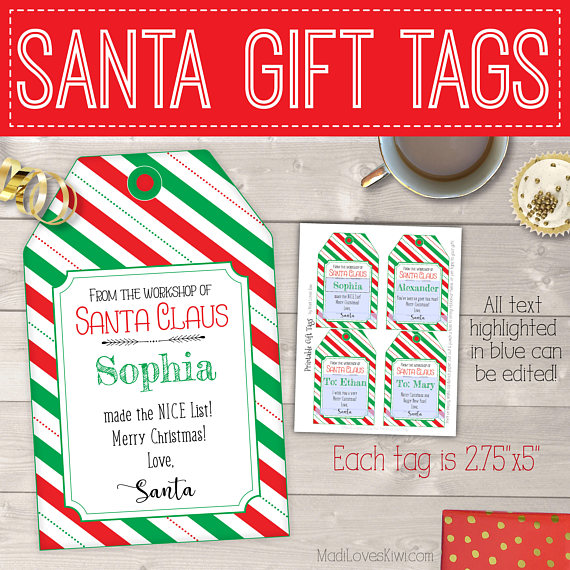 photograph about Printable Christmas Gift Tags Templates titled Versus the Workshop of Santa Reward Tags Crimson Inexperienced Stripes