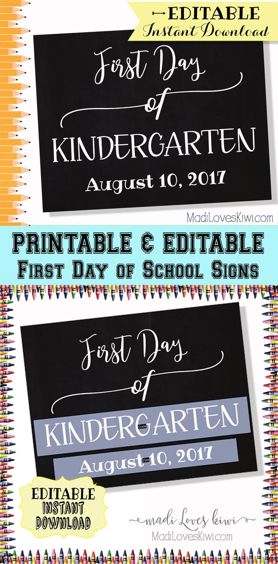 First Day of School Sign EDITABLE PDF, Printable Back to School Chalkboard Photo Prop Digital, Reusable PDF Template 1st Day, Student Gift