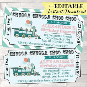 Train Birthday Invitation, Train Ticket Birthday Invitation Boy, Train Ticket Invitation, Train Ticket Template, Train Birthday Party Boy