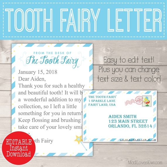 photograph regarding Tooth Fairy Printable Letter called Blue Teeth Fairy Letter with Envelope Printable To start with Missing