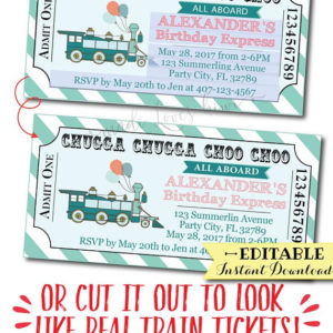 Train Birthday Invitation, Train Ticket Birthday Invitation Boy, Train Ticket Invitation, Train Ticket Template, Train Birthday Party Boy