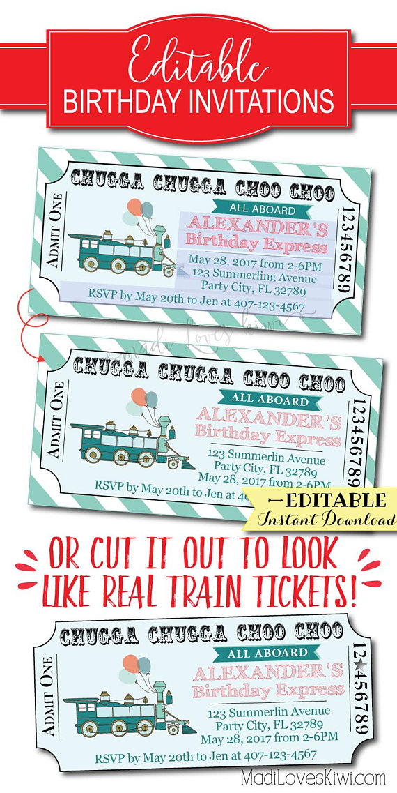 Train Birthday Invitation Ticket Boy