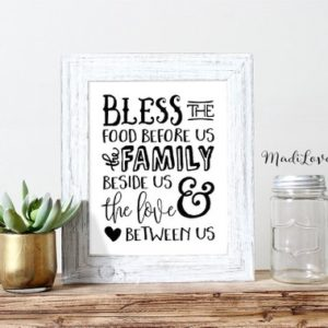 Bless the Food Before Us, Inspirational Quote, Kitchen Decor, Blessing, House Blessing, Hand Drawn Art, Typography Printable, Kitchen Signs
