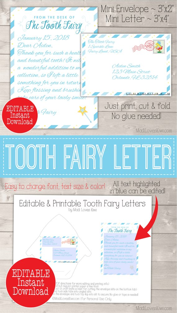 Personalized Tooth Fairy Letter Kit Boy, Printable Download First Lost Tooth Note Set Envelope Template PDF Digital Gift Idea No Teeth Cards