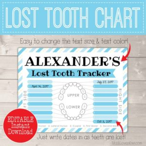 Lost Tooth Chart, Boy First Lost Tooth, Custom Tooth Fairy Printable Digital Tooth Chart, Boy Tooth Fairy Gift, Dental Chart, Tooth Tracker