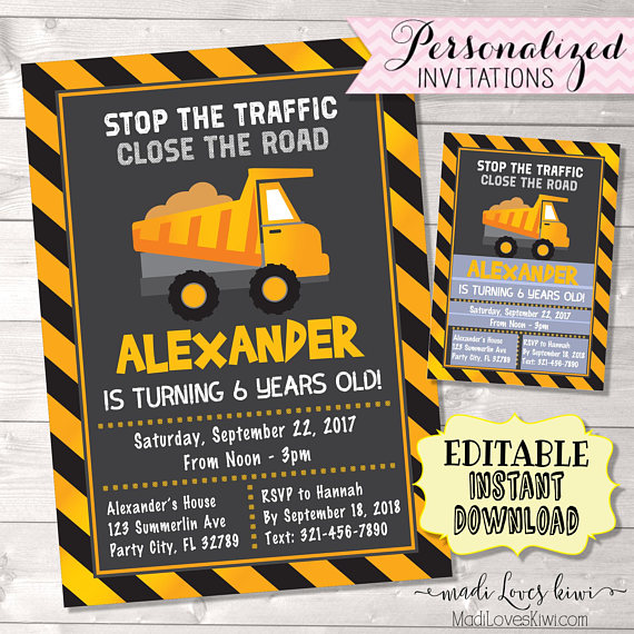 Construction Birthday Invitation Printable Party Dump Truck Boy