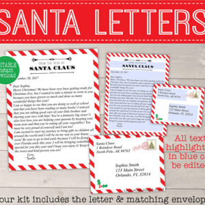 Red White Santa Kit Letter From Santa With Envelope Santa S