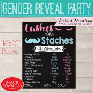 Staches or Lashes Gender Reveal Decorations, Digital Old Wives Tale Chalkboard Sign, Printable Baby Party Ideas, Instant Download Decor Kit