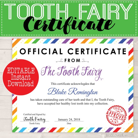 Rainbow Tooth Fairy Certificate | Editable PDF Instant