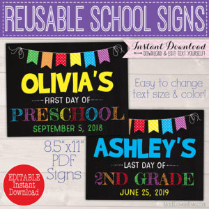 First Day of School Sign Printable, 1st Day Chalkboard Instant Download, Reusable PDF Template, Back to End of Year Last Digital Photo Props