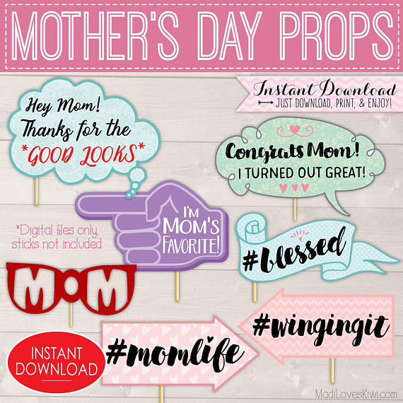 Mother's Day Photo Booth Props, Happy Mothers Day Signs, Printable Photobooth Ideas, Funny Mom Sayings Decor Mum Party Gift DIGITAL DOWNLOAD