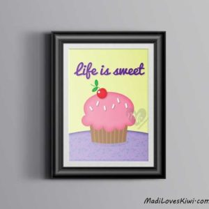 Life Is Sweet, Cupcake Wall Art, Cupcake Print, Kitchen Decor, Bakery Decor, Cupcake Sign, Cupcake Decor, Cupcake Lovers, Housewarming Gift