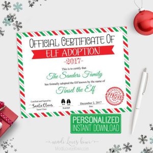Personalized Elf Adoption Certificate Printable, Elf Adoption Papers, Customized Elf Printable, Printable Elf Certificate, Adopt an Elf
