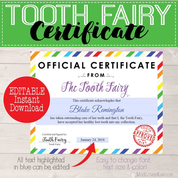 Editable Tooth Fairy Certificate Instant Download, First Lost Tooth Keepsake, Digital Tooth Fairy Receipt Girl Tooth Fairy Rainbow Printable