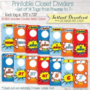 Baby Closet Dividers, Superhero Nursery Decor, Printable Dividers, Printable Nursery Closet Organizer, Baby Organization, Boy Nursery Decor