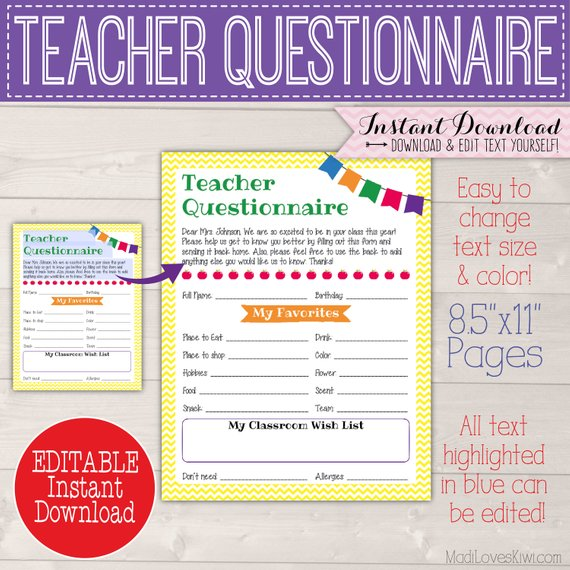 Custom Teacher Gift Ideas Questionnaire, Printable Room Mom Back to School Form, Class Wish List for End Year Appreciation PTA PTO Staff PDF
