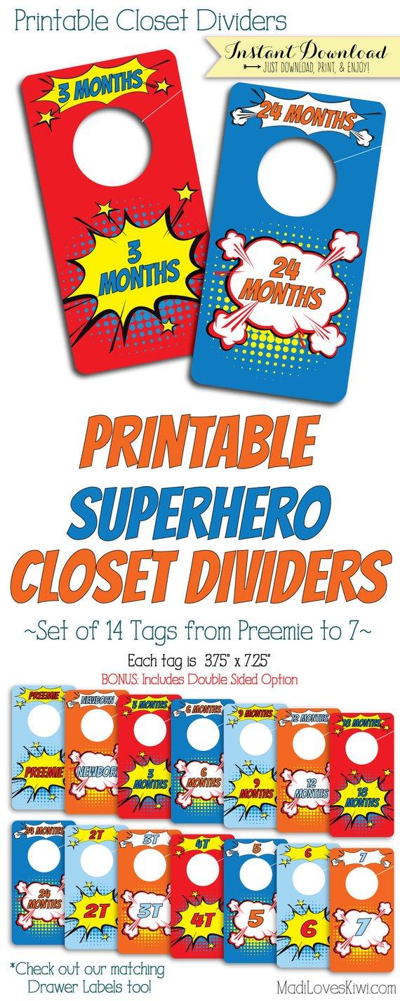 Baby Closet Dividers, Superhero Nursery Decor, Printable Dividers, Printable Nursery Closet Organizer, Baby Organization, Boy Nursery Decor