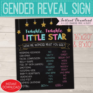 Twinkle Twinkle Little Star Gender Reveal Ideas, Old Wives Tales Chalkboard Sign Printable, Pink Blue Decorations, DIY Party Decor Boy Girl