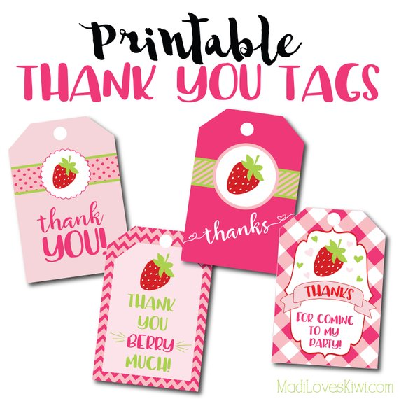 Printable Thank You Tags, Strawberry Thank You Tags, Strawberry Birthday Party Thank You Tags, Paper Party Supplies, Birthday Party Decor