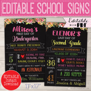 Reusable First Day of School Sign Printable, Last Day Poster Editable, Digital Back to School Chalkboard End of Year Photo Prop 1st Template