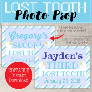 Boy Tooth Fairy Prop, First Lost Tooth Photo Prop, Printable First Lost Tooth Sign, Digital Tooth Fairy Boy, Tooth Keepsake, Tooth Printable