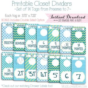 Baby Closet Dividers, Boy Nursery Decor, Printable Dividers, Printable Nursery Closet Organizer, Baby Organization, Baby Closet Organization