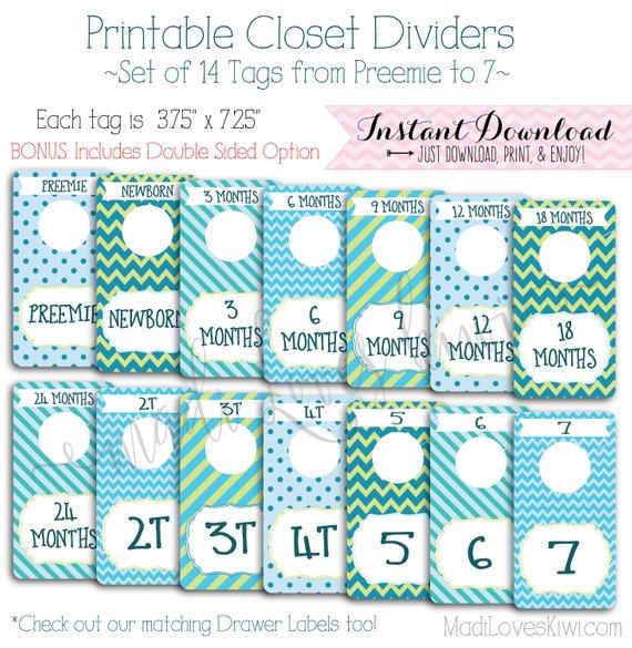 Baby Closet Dividers, Boy Nursery Decor, Printable Dividers, Printable Nursery Closet Organizer, Baby Organization, Baby Closet Organization