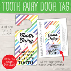 Rainbow Tooth Fairy Door Hanger, Tooth Fairy Hanger, Tooth Fairy Door Sign, First Lost Tooth Hanger Digital Tooth Fairy Sign Lost Tooth Sign