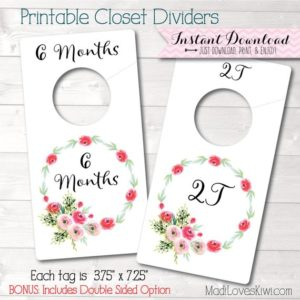 Baby Closet Dividers, Floral Nursery Decor, Printable Dividers, Printable Nursery Closet Organizer, DIY Baby Organization, Baby Girl Nursery
