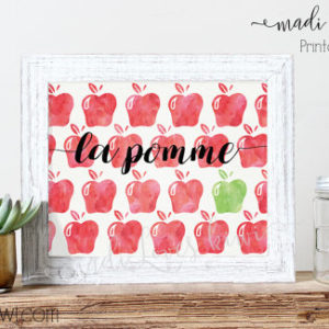 La Pomme, Kitchen Decor, Apple Print, Autumn Decor, Fall Decor, Fruit Print, Watercolor Print, Apple Poster, Kitchen Wall Art, Teacher Gifts