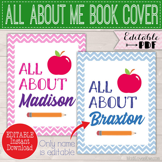 Personalized All About Me Book COVER Kit, School Memory Book Cover Page, Customized Binder Cover Instant Download, Name Cover Sheet Editable