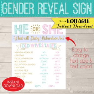 Personalized Gender Reveal Decorations, Old Wives Tales Sign Printable, He She Digital Party Decor Ideas, Pink Blue Girl Boy Editable Poster
