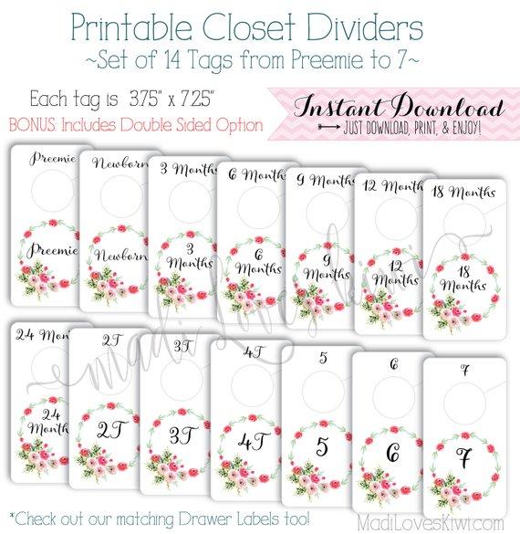 Baby Closet Dividers, Floral Nursery Decor, Printable Dividers, Printable Nursery Closet Organizer, DIY Baby Organization, Baby Girl Nursery