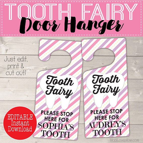 Personalized Tooth Fairy Door Kit Digital, Girl Tooth Printable Gift, Pink Purple Door Hanger, DIY Hanging First Lost Tooth Sign Certificate