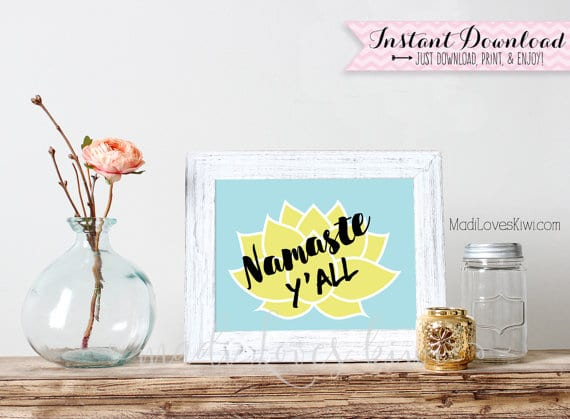 Namaste Y'all, Yoga Art, Lotus Flower Wall Art, Namaste Sign, Yoga Wall Art, Yoga Poster, Namaste Print, Yoga Print, Lotus Flower Print
