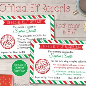 Personalized Elf Report Card, Official Elf Report Printable, Naughty Warning, Naughty List, Nice List, Elf Letter, Elf Prop, Elf Accessories
