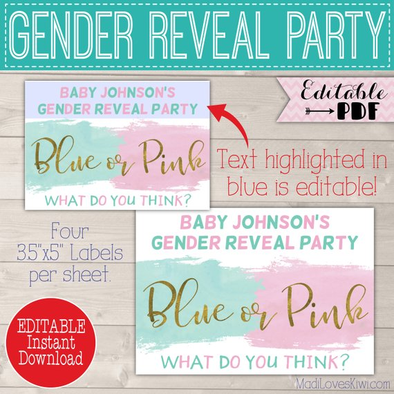 Personalized Silly String Label for Gender Reveal, Decorations Printable Blue Or Pink Party Decor Idea Baby Girl Boy Digital Goofy Spray Can