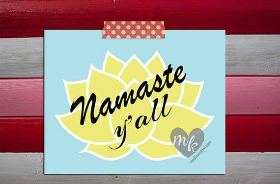 Namaste Y'all, Yoga Art, Lotus Flower Wall Art, Namaste Sign, Yoga Wall Art, Yoga Poster, Namaste Print, Yoga Print, Lotus Flower Print