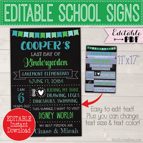 First Day of School Sign Editable PDF, Last Day Chalkboard Photo Prop Instant Download, Printable Reusable Back 1st End Year Blue Green Boy