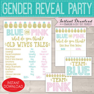 Pineapple Gender Reveal Decorations, Old Wives Tales Printable Poster, Baby Party Ideas, Vote Board, Team Pink Decor, Digital Blue Signs Set