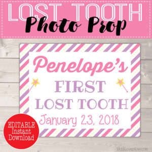 Girl Tooth Fairy Printable Photo Prop, Personalized First Lost Tooth Gift Ideas, Digital Download, Last Minute Girls Props, PDF Template 1st