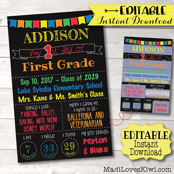 Editable First Day of School Sign, Printable Back to School Sign, 1st Day Chalkboard Photo Prop, Reusable PDF Template, Instant Download Kit