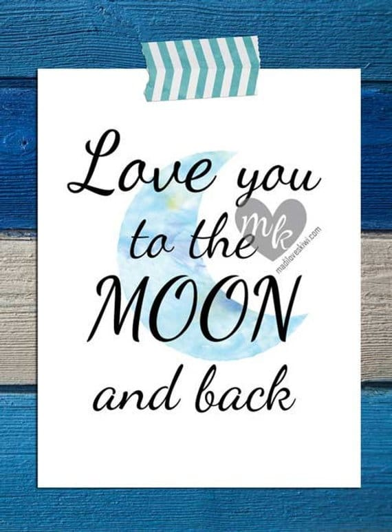 Love You To The Moon and Back Digital Download, Nursery Wall Art, Printable Baby Room Decor, Childrens Playroom Art, Baby Shower Gift Ideas