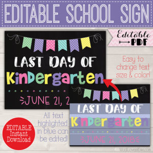 First Day of School Sign Editable PDF, Last Day Chalkboard Printable, Digital End Year Gift Idea Girl Reusable Back to School Photo Prop 1st