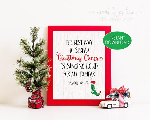 Christmas Decorations, Spread Christmas Cheer, Christmas Prints, Holiday Decor, Holiday Sign, Elf Movie, Christmas Art, Christmas Gift, Elf