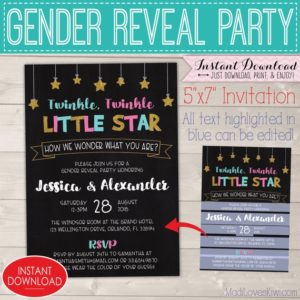 5x7 Twinkle Twinkle Little Star Gender Reveal Invitation, How We Wonder What You Are, Editable Party Invites, Digital Baby Instant Download